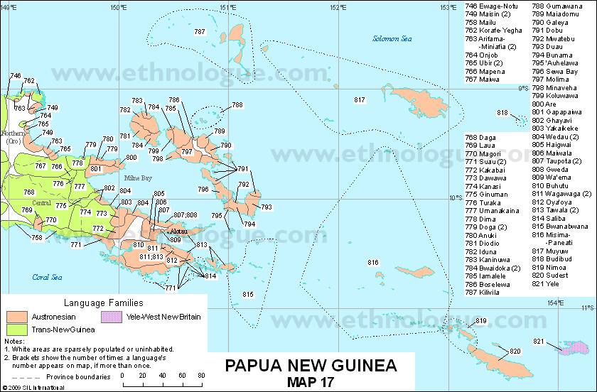 Languages of Papua New Guinea, Map 17