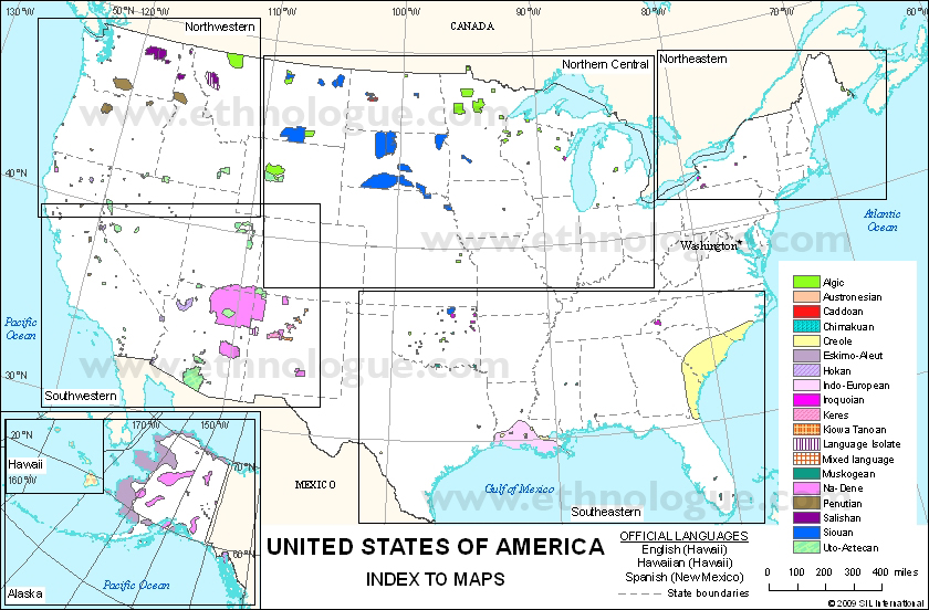 Languages of United States of America: Index Map