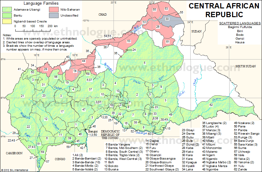 Central African Republic Ethnologue - African language map