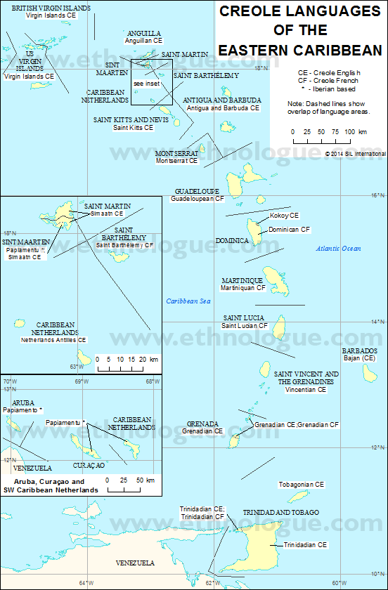 Creole Languages Of The Eastern Caribbean Ethnologue - Aruba and us map