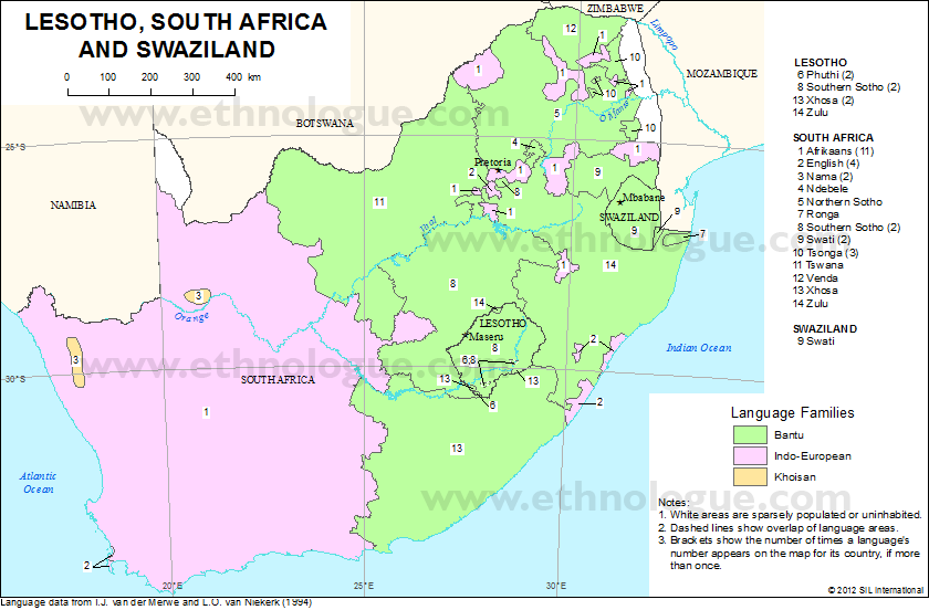 Lesotho South Africa And Swaziland Ethnologue - Lesotho maps with countries