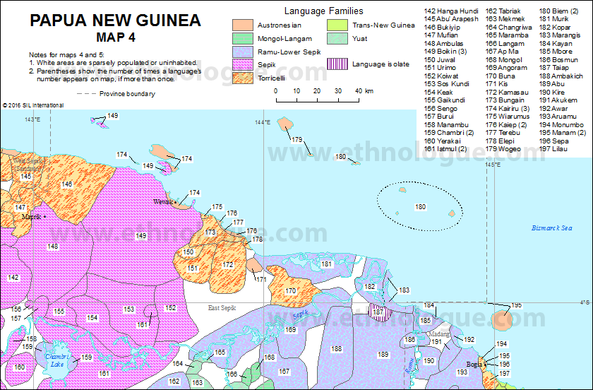 Papua New Guinea, Map 4   Ethnologue