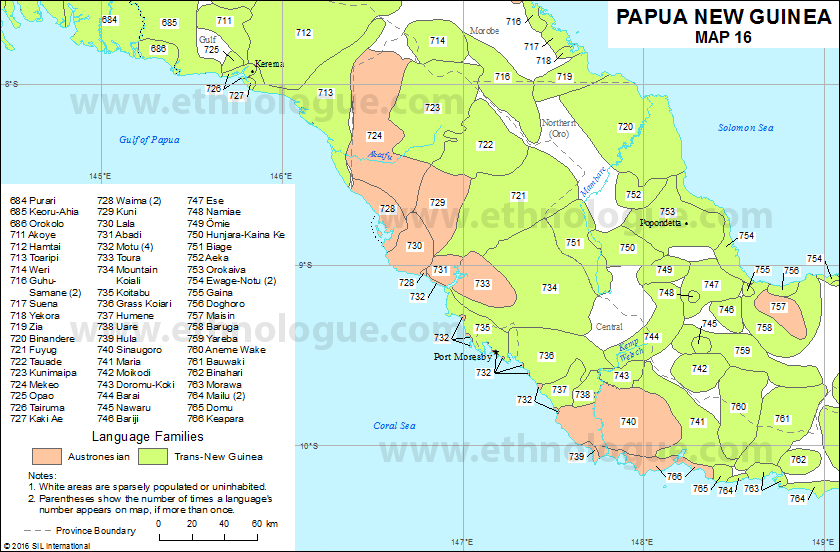 Papua New Guinea, Map 16 | Ethnologue