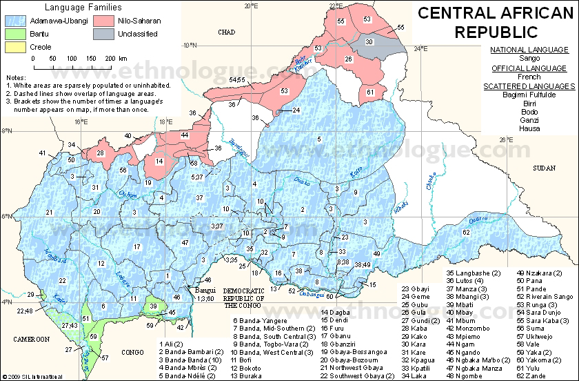 Language Maps Of Central African Republic