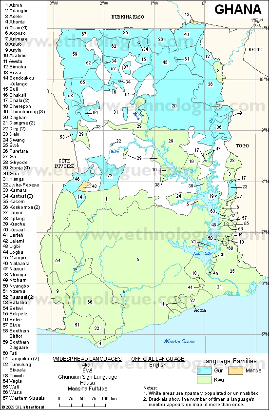 Language maps of Ghana