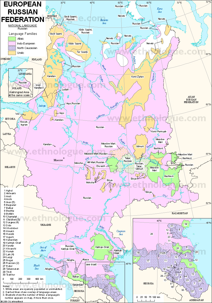 Language maps of Russian Federation (Europe)