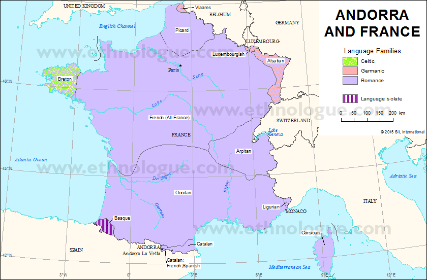 Map Of France In French Language.Andorra And France Ethnologue