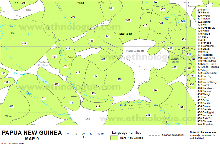 Papua New Guinea, Map 9 | Ethnologue