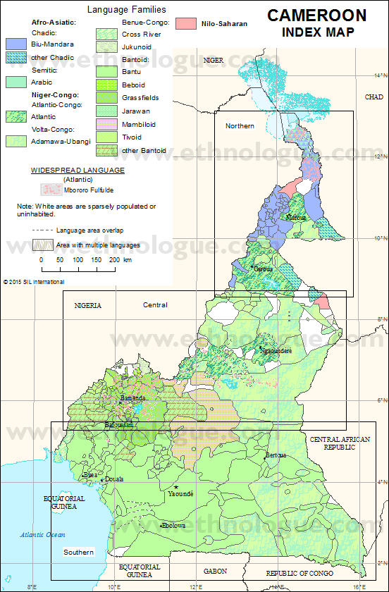 Cameroon Index Map Ethnologue - Cameroon language map