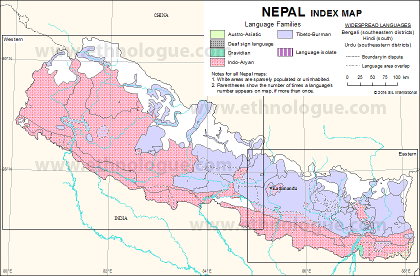 Nepal Index Map Ethnologue - Map of nepal