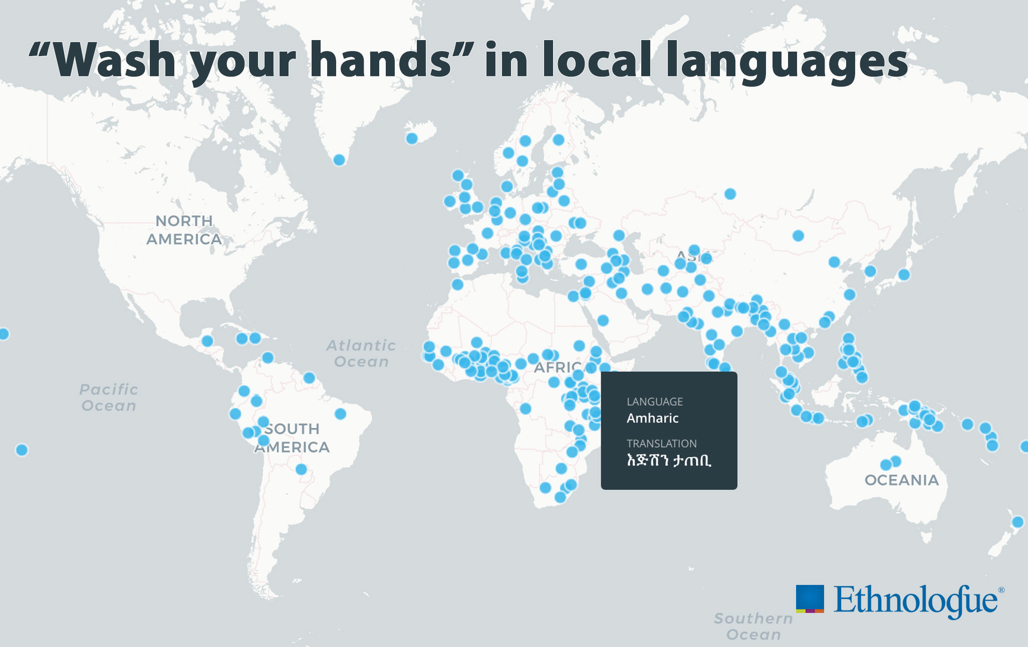 Map of translations of 'wash your hands'