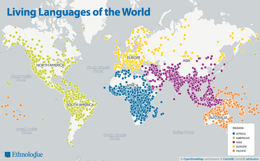 Map of the living languages of the world