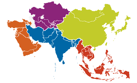 Map Of Asia With 5 Regions.Asia Ethnologue