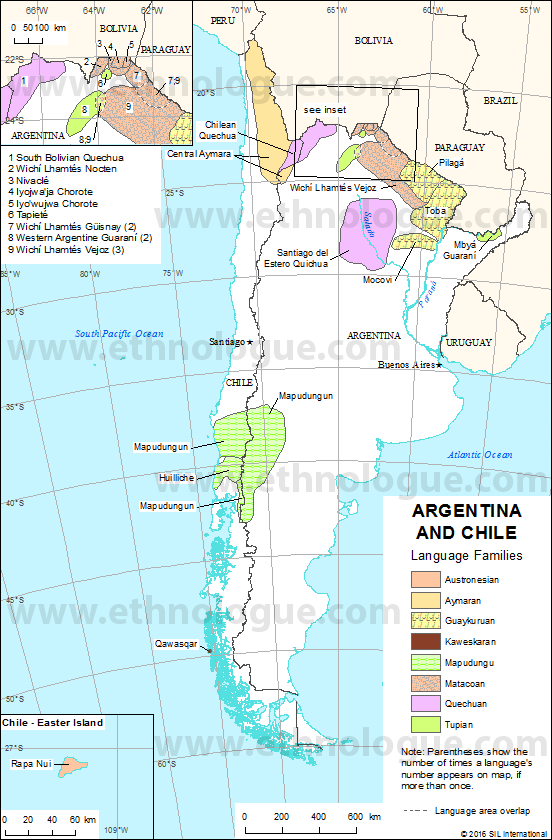 Argentina And Chile Ethnologue - Argentina map