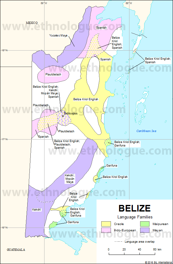 Belize Ethnologue - Belize map