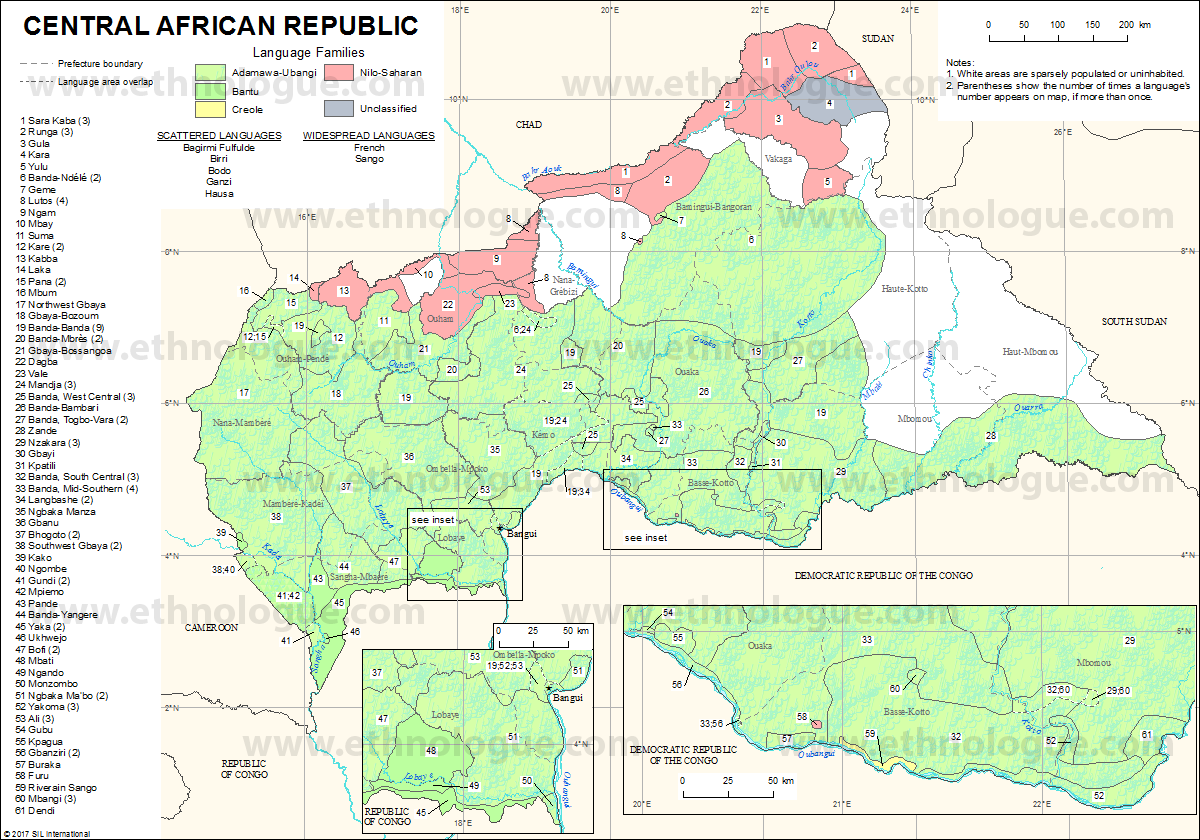 Central African Republic Ethnologue - Central african republic map