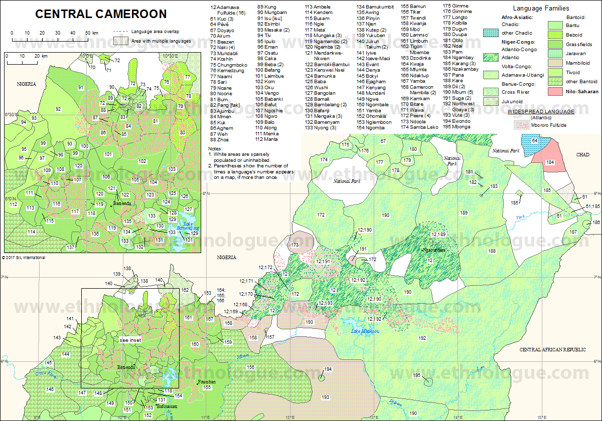 Central Cameroon Ethnologue - Cameroon language map