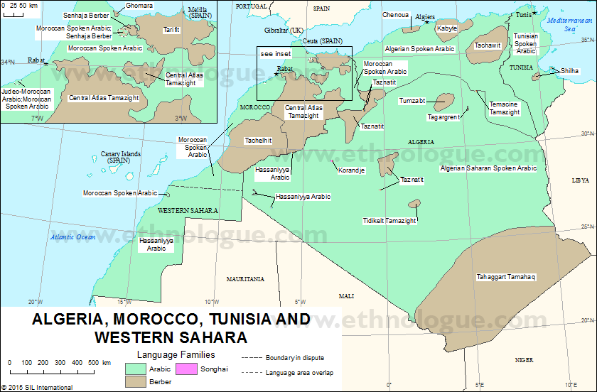 Algeria Morocco Tunisia And Western Sahara Ethnologue - Western sahara map