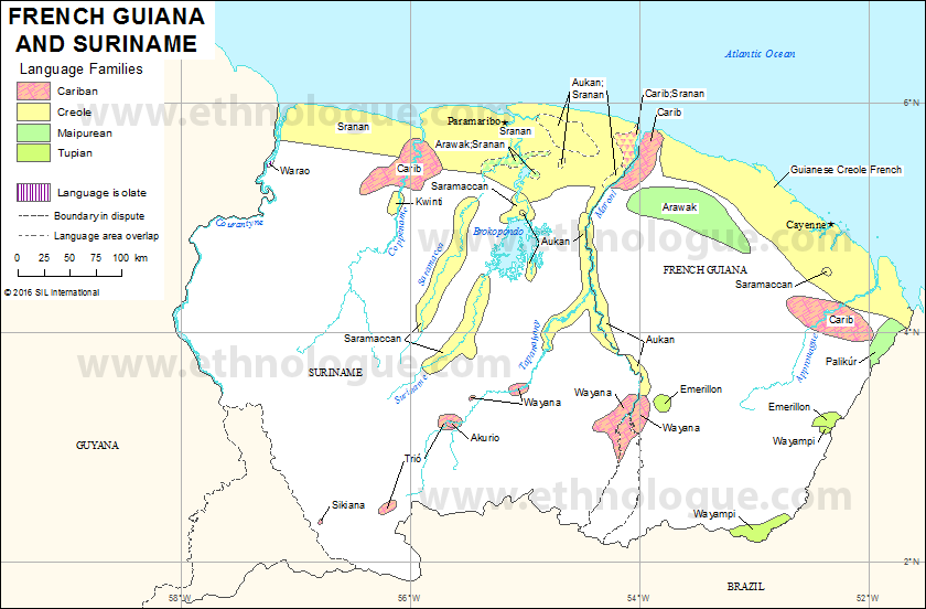 French Guiana And Suriname Ethnologue - Map of french guiana world