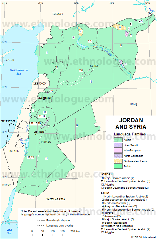 Jordan And Syria Ethnologue - Map of egypt jordan and syria