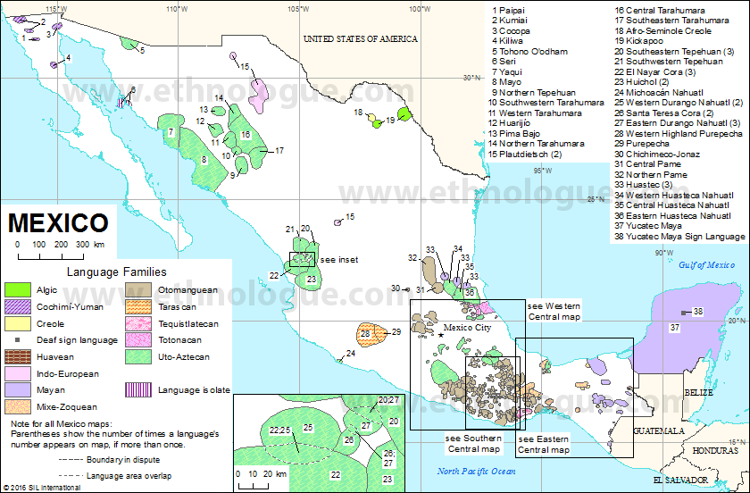 Mexico Ethnologue - Picture of mexico map