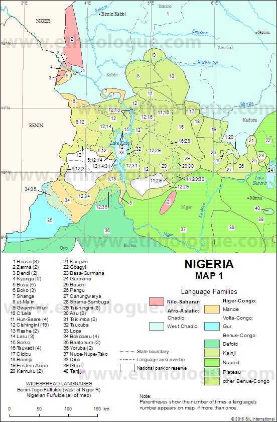 Nigeria, Map 1 | Ethnologue on