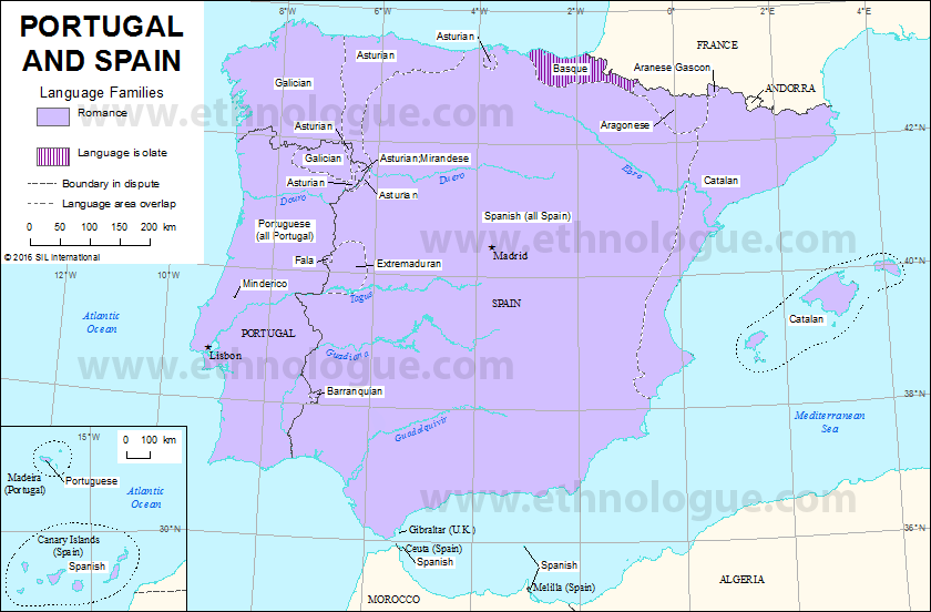 Portugal And Spain Ethnologue - Map of portugal spain