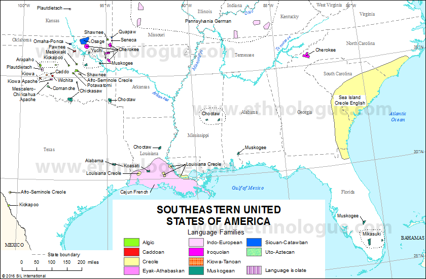 Southeastern United States Of America Ethnologue - Map of southeast us states