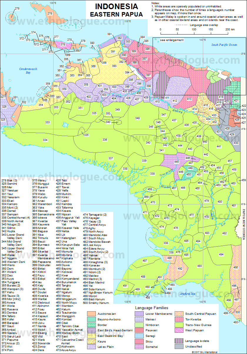 Indonesia Eastern Papua Ethnologue - Indonesia map