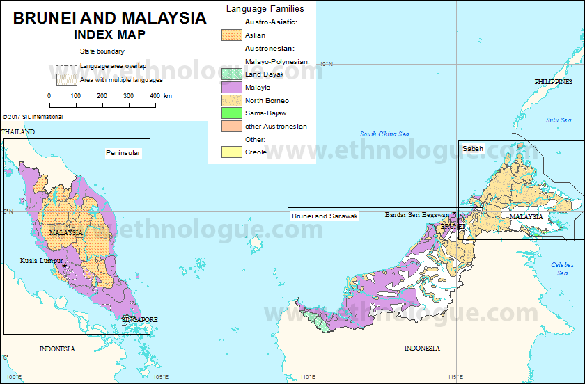 Brunei and Malaysia Index map Ethnologue