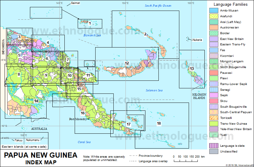 Papua New Guinea: Index map | Ethnologue