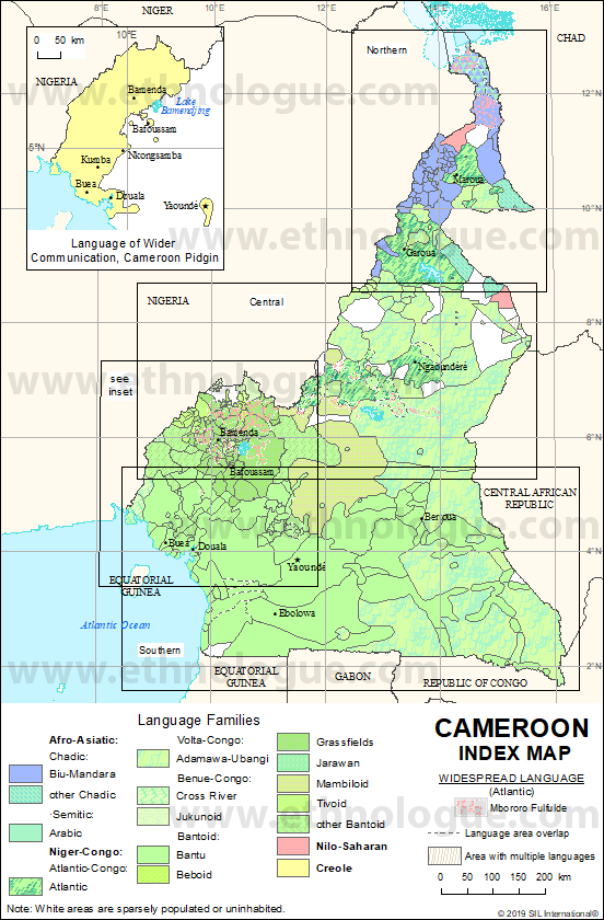 Cameroon: Index map | Ethnologue on