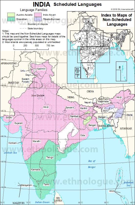 India Index Map Ethnologue