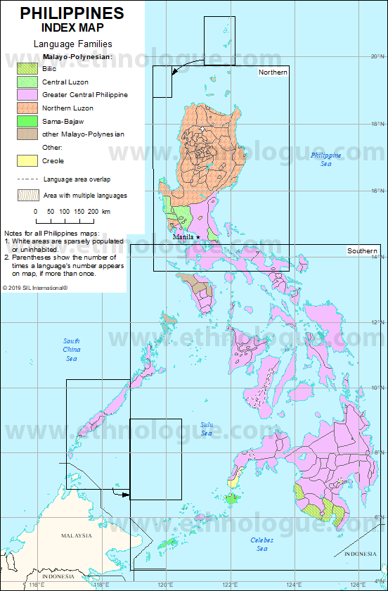 Philippines Index Map Ethnologue