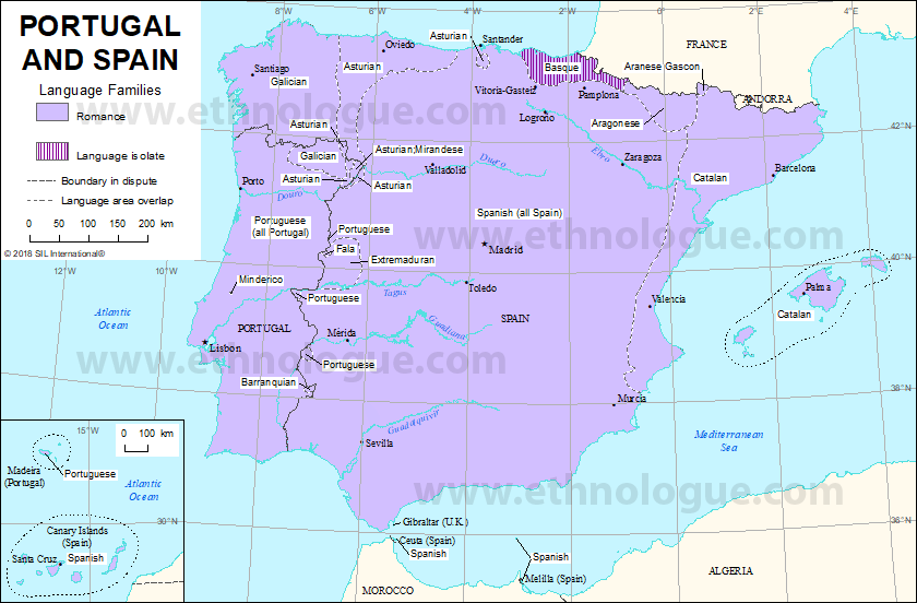 Map Of Portugal And Spain.Portugal And Spain Ethnologue